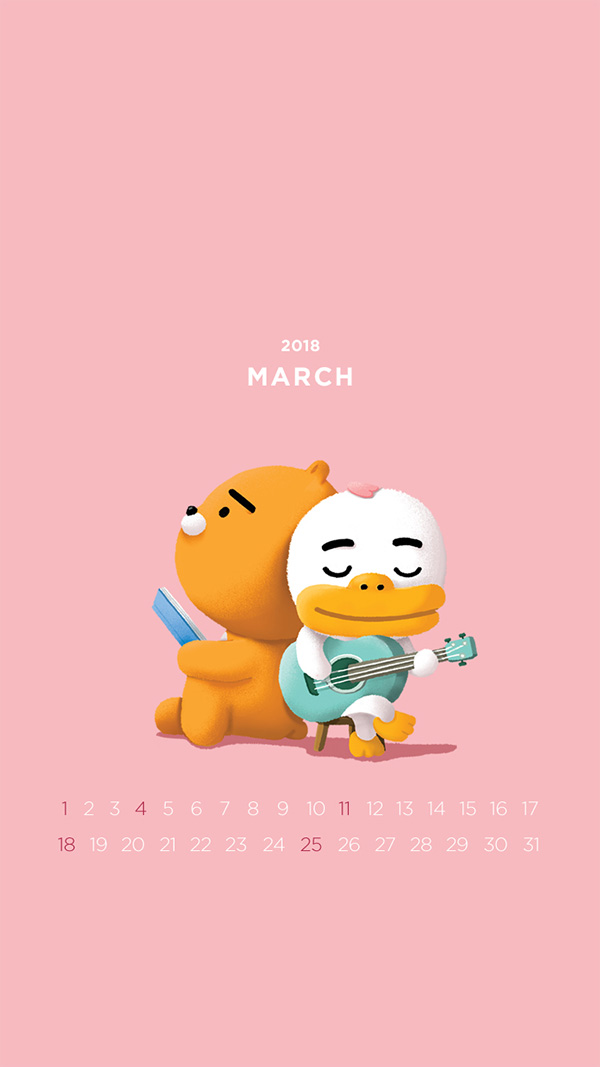 2018년 3월의 배경화면(달력)