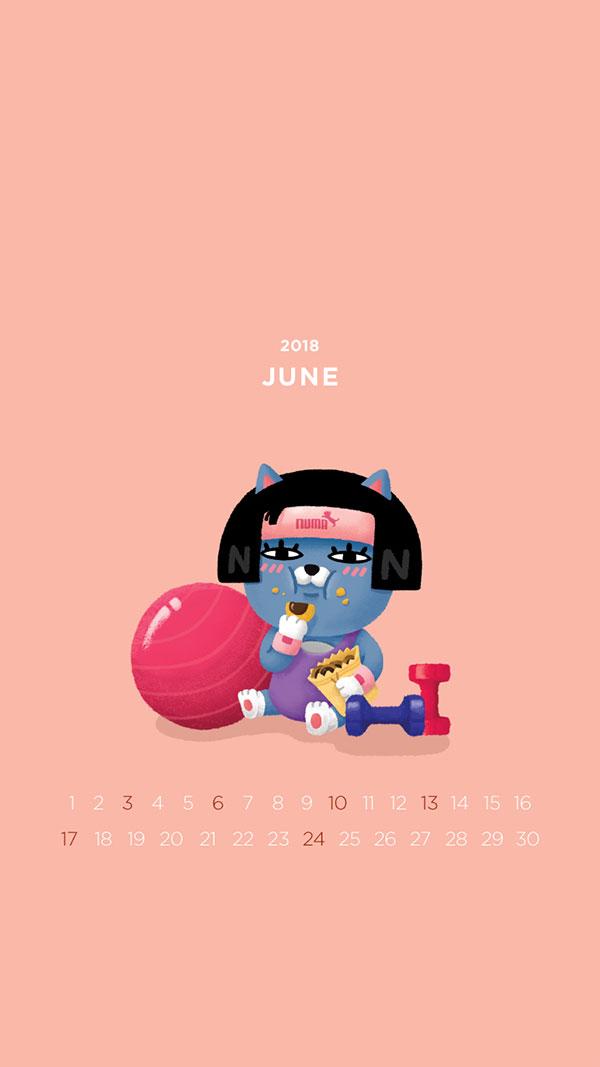 2018년 6월의 배경화면(달력)