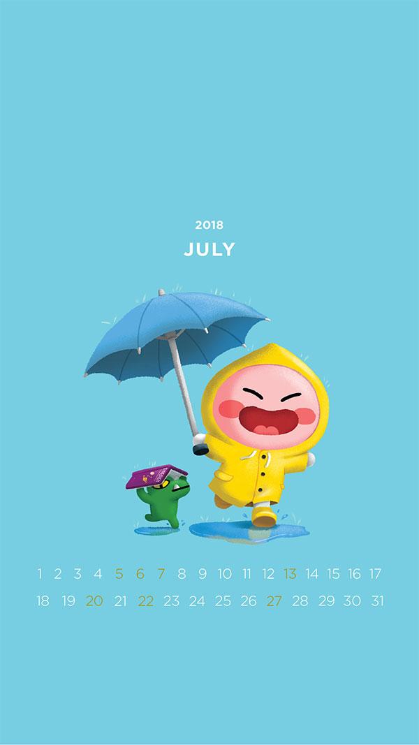 2018년 7월의 배경화면(달력)