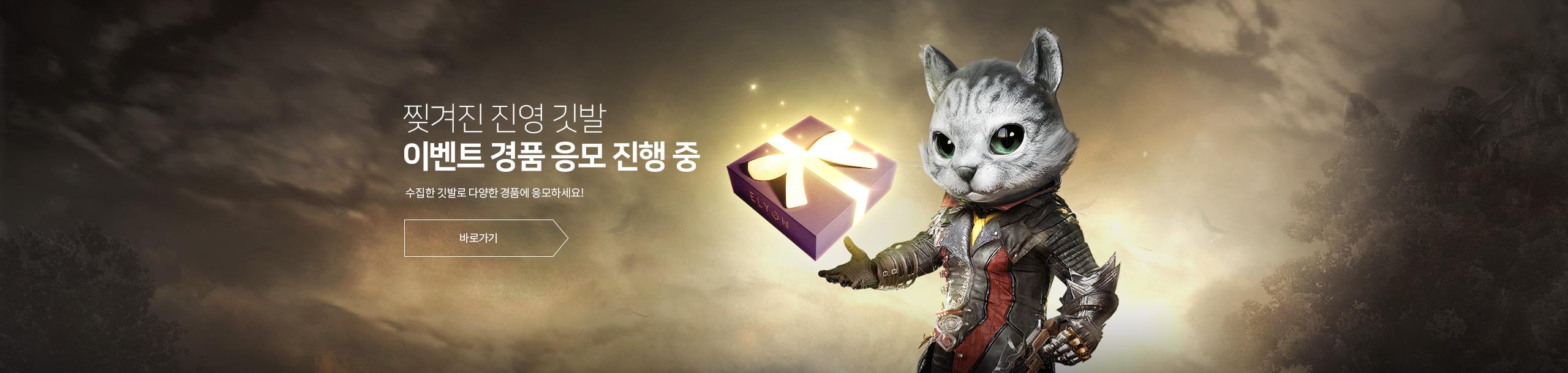 찢겨진 진영 깃발 이벤트 경품 응모 진행 중 수집한 깃발로 다양한 경품에 응모하세요! 바로가기