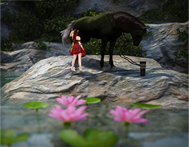 금수랑은 호수에서 휴식 중 by [와꿀랑]